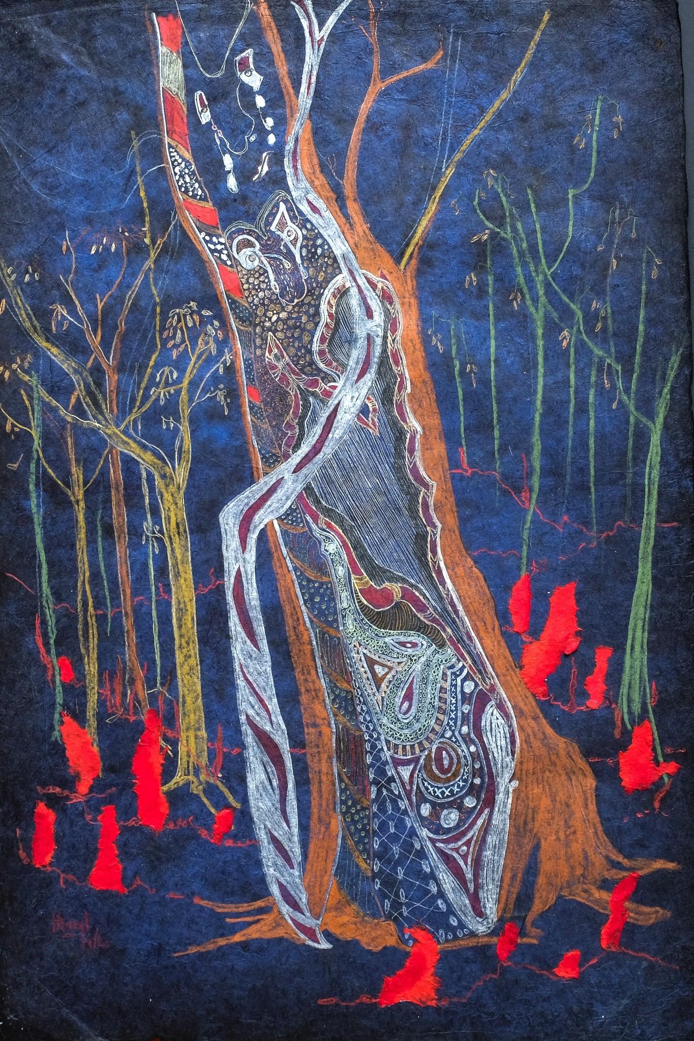 Hélène Stevens - L' arbre de la putty road en flamme Australie