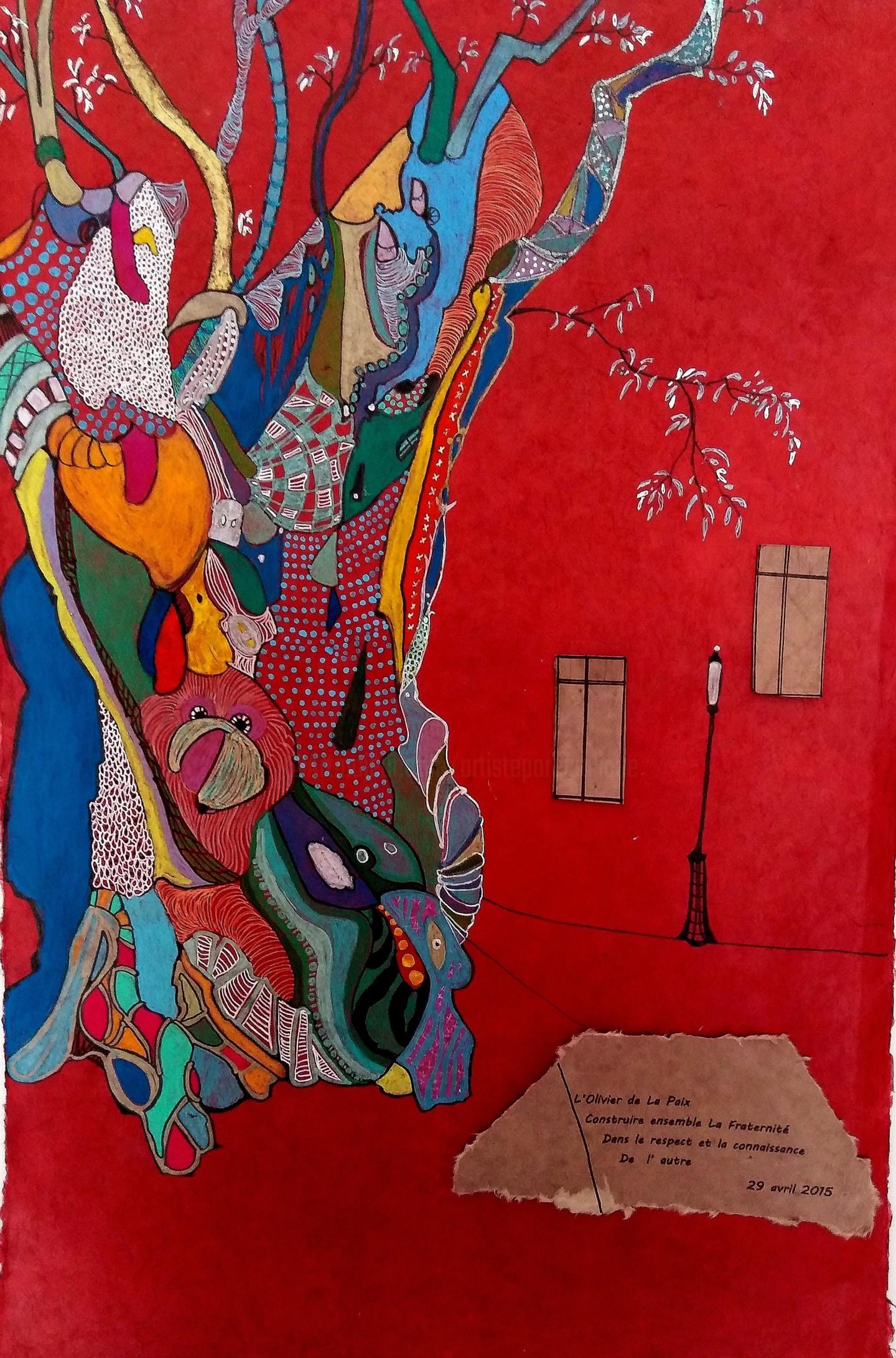 Hélène Stevens - L'olivier de la paix fond rouge et message