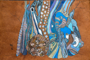 L'olivier de la Paix Nîmes -ton de bleus- fond brun